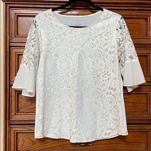 Van Heusen Cream lace overlay blouse